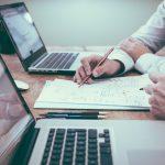 Insurance client studying car insurance plans
